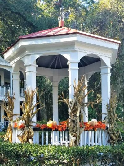 The Newpoint gazebo takes on a seasonal flair.